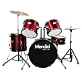 Mendini by Cecilio Complete Full Size 5-Piece Adult Drum Set with Cymbals, Pedal, Throne, and Drumsticks, Metallic Bright Red, MDS80-BR