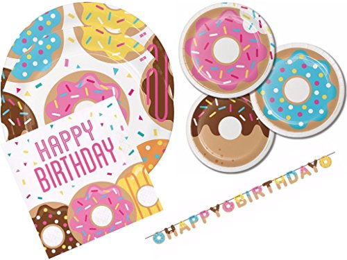 Creative Converting Inc.., Childrens Baking Donut Birthday Party Party Kit Includes Plates, Napkins and Happy Birthday Banner for 16 by Creative Converting Inc..,