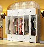 KOUSI Portable Closet Wardrobe Bedroom Armoire Storage Organizer with Doors, Capacious & Sturdy. 10 Cubes+ 5 Hanging Sections, White
