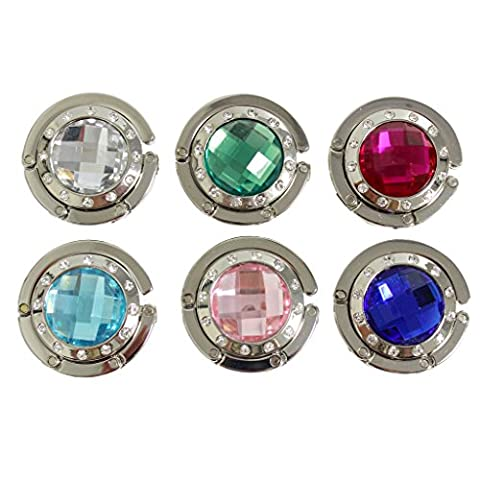 Set of 6 folding compact sparkly coloured crystal gem stone purse bag hangers hooks by Kurtzy TM