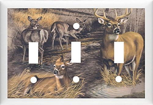 BB DEER BUCK & DOES #2 HOME DECOR LIGHT SWITCH OR OUTLET COVER (Double) (Triple 2 Switch)