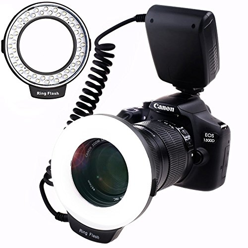 SAMTIAN 48 Macro LED Ring Flash Light with LCD Display Adapter Rings and Flash Diffusers for Canon 750D 760D T6i 550D 600D 650D 700D Nikon D500 D5500 D750 D7100 D7200 D800 D800E D810 Sony A6300 A6000 by SAMTIAN