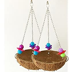 Old Tjikko Bird Nest, Parrot Swing,Pet Bird Cage Toys, Set of 2,Coconut Nest with Hook (2 pc)