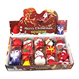 Juejue Christmas Squishy Toys, 12 Pcs Kawaii Squishy Pack Mochi Animals Santa Claus Squishy, Stress Relief Toys for Children