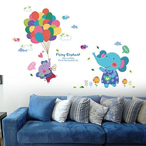 Fenleo Wall Stickers Cute Little Elephant Balloon Decor Mural Decals For Kids Rooms Bedroom Bathroom Living Room Kitchen