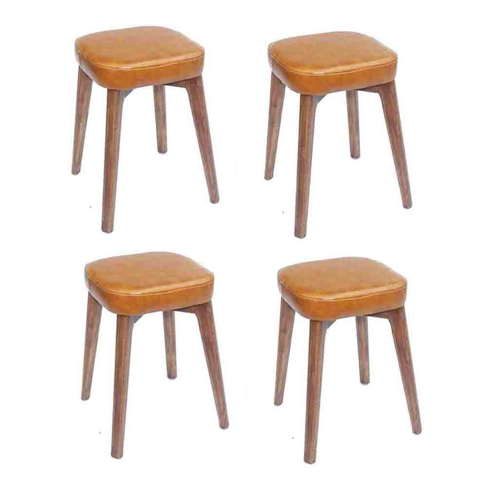 YCSD Stackable Stools Reinforcement Design Solid Wood Backless Dinning Stool Square Faux Leather Padded Bench (4-Pack) (Color : Yellow Brown, Size : B) by YCSD