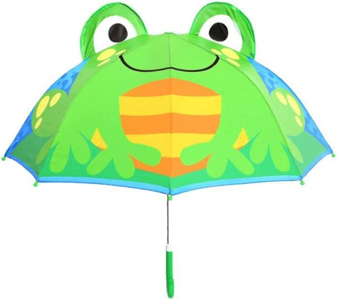 HongTeng 3D Cartoon Childrens Umbrella Men and Women Children Baby Children Umbrella Visor Long Handle Creative Princess Umbrella Kindergarten Pattern : Green Tree Frog