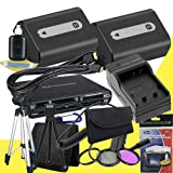 TWO NPFH50 Lithium Ion Replacement Batteries w/Charger + Mini HDMI + 3 Piece Filter Kit + Tripod + USB SD Memory Card Reader /Wallet + Deluxe Starter Kit for Sony DCRDVD508, DCRDVD408, DCRDVD308, DCRDVD108, DCRDVD505, DCRDVD405, DCRDVD305, DCRDVD205, DCRD