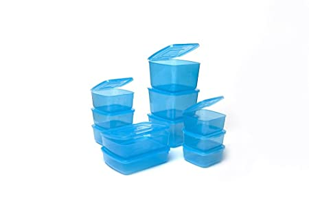 Everlid Plastic Food Storage Containers With REVOLUTIONARY Attached Lid  (set Of 11 In Blue)