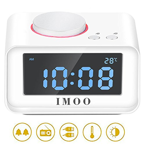 Radio Alarm Clock  Imoo All In One Electronic Alarm Clock With 5 Dimmer  Fm Radio Indoor Thermometer  Dual Usb Charing Large Lcd Display  White