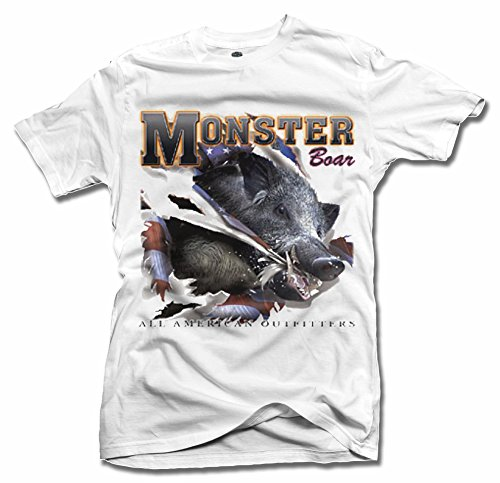 MONSTER BOAR ALL AMERICAN OUTFITTERS XL White Men's Tee (6.1oz) (All American Outfitters)