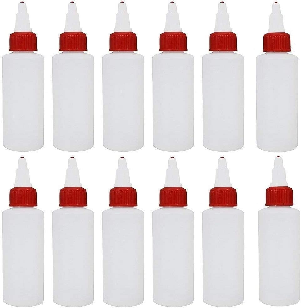 12 Pack Plastic Squeeze Bottles Tip Applicator With Screw Cap, 2 Ounce