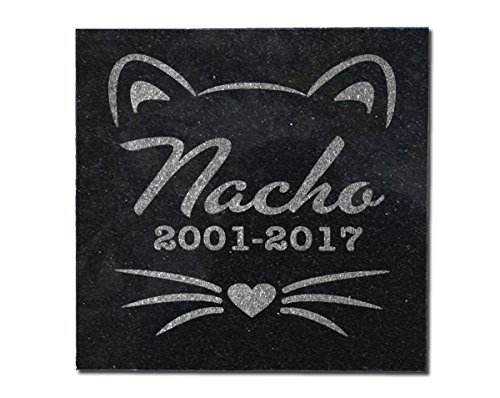 Indoor Outdoor Memorial Cat Plaque 6x6 Black Granite Stone Grave Marker Grieving in Loving Memory Keepsake Gift for Family Loss, Sympathy Gift Personalized Pet Whiskers Headstone