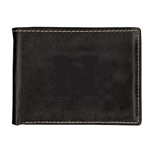 - University of Nebraska Contrast Stitch Bifold Leather Wallet (Black)
