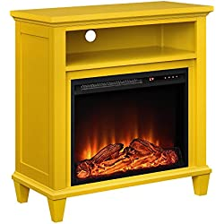 "Altra Furniture Ellington TV Stand with Fireplace for TV's up to 32"", Yellow"