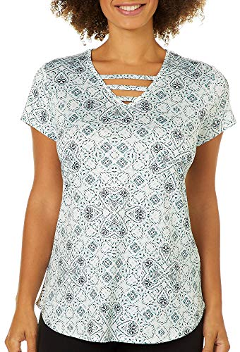 Nue Options Womens Tile Print Ladder Neck Top Large White/Mint Green