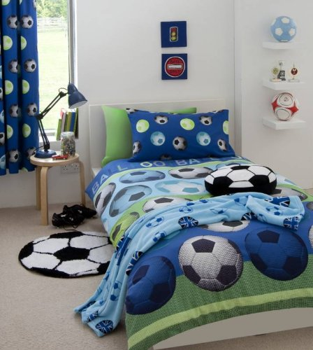 SOCCER BLUE TWIN BED QUILT COVER DUVET SET by PCJ SUPPLIES