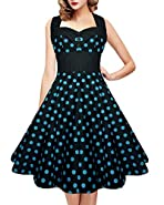 Women's 1950's Vintage Polka Dot Retro Plus Size Halter Neck Tunic Cocktail Swing Prom Dress