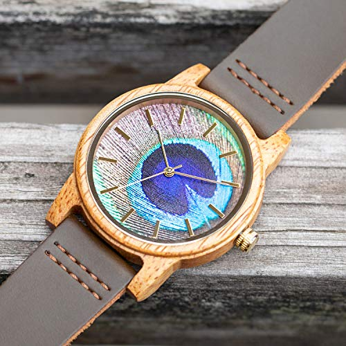 Natural Wooden Watch,BIOSTON Handmade Unisex Real Cowhide Vintage Wrist Watch, Japanese Import Quartz Movement Casual Watches, Best Gift for Yourself Father Men Women Son