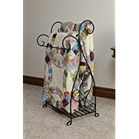 Quilt Rack Made of Sturdy and Wrought Iron Made In USA Will Hold and Organize Three of Your Quilts and Including Bottom Shelf in Rich Black Color Finish