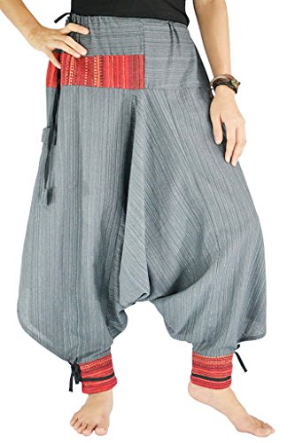 [Yoga Pants for Women Cotton Loose Harem Wide Leg Plus Size. (Grey)] (Genie Outfit)