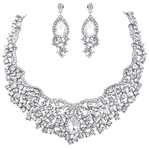 EVER FAITH Women's Austrian Crystal Flower Cluster Teardrop Necklace Earrings Set Clear Silver-Tone