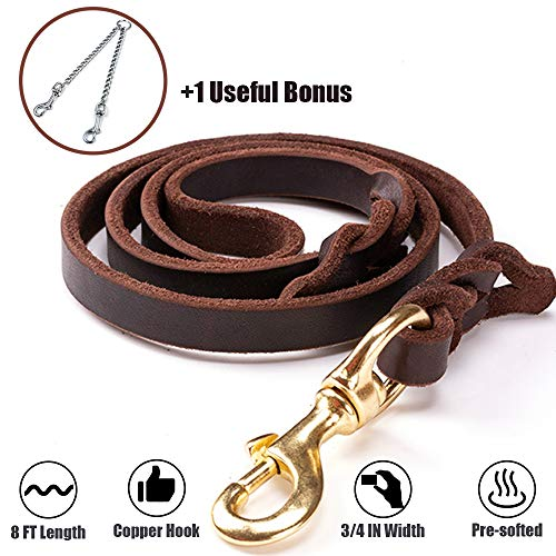 PROPLUMS Leather Dog Leash 8 ft Length |3/4in Width |0.19in Thickness |Pre-softened with Bonus of Multi-Using Chain and Copper Hook Training Heavy Duty Braided Leash Gift for Large Medium Puppy Dog (Small Collar Lead Dog And Sets)