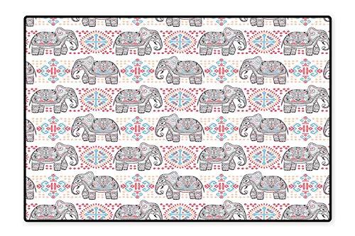 Kid Non Slip Rug Pad Indian Asian Safari Animal Elephant Nature Pattern Ethnic Print Coral Light Blue Peach Dual Surface 6'6