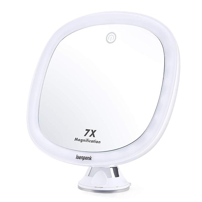 23 opinioni per ISENPENK Specchio Illuminato Trucco da Bagno, Specchio 7X Ingradimento a Parete