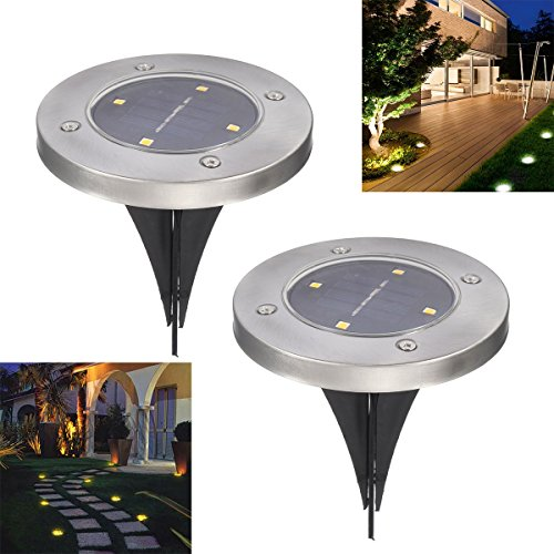 Solar Ground Lights Pathonor 4 LED 2 Pieces Warm White Ray Waterproof Solar Landscape Light Pathway Lights Yard lights Dark Sensing Auto On/Off Lawn Garden Patio Driveway Walkway Pool Area