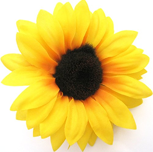 Amazon 4 34 yellow sunflower silk flower har comb clothing mightylinksfo Choice Image