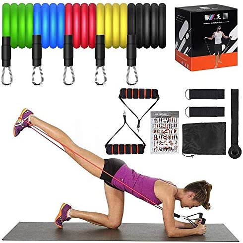 11PC Resistance Bands Set With Fitness Tubes Foam Handles Ankle Straps.
