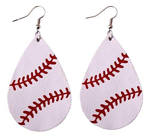 Dangle Leather (StylesILove Womens Teen Girls Baseball Teardrop Leather Dangle Earrings (White))