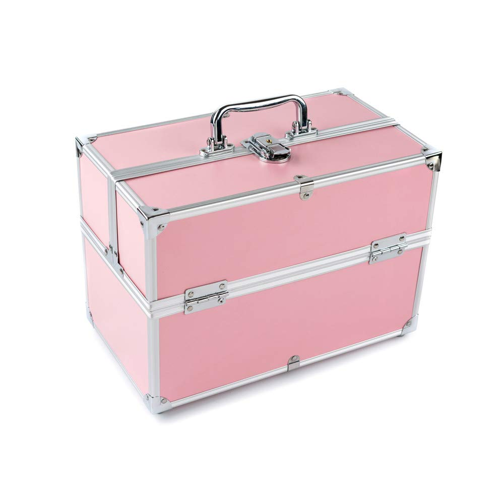 化粧オーガナイザーバッグ 大容量ポータブル両面耐火ボード旅行の化粧品美容メイクアップ化粧ケースの折り畳みトレイ 化粧品ケース B07PKSB4WC