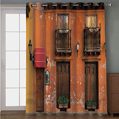Curtain,America,Cartagena Streets with Vibrant Color Building Facade Caribbean Landscape Columbia Decorative,Orange Brown,for Sliding & Patio Doors, 102