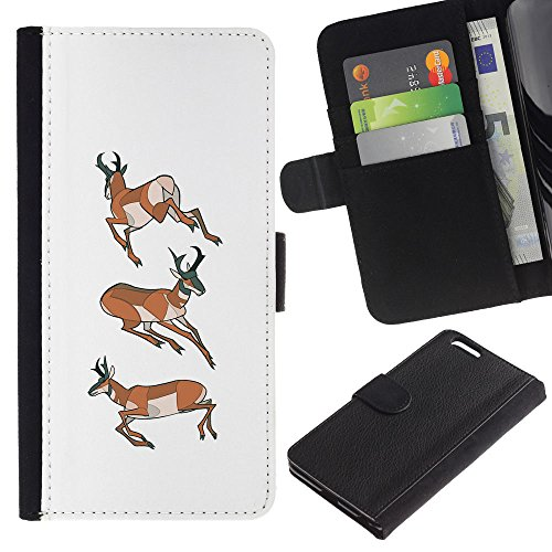 Planetar Colorful Pattern Flip Wallet Leather Holster Protective Skin Case Cover Apple (5.5 inches!!!) iPhone 6+ Plus / 6S+ Plus ( Deer Antler White Hunter Forest Orange ) ()