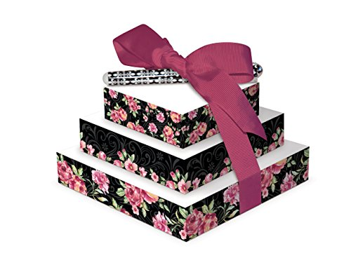 Lily McGee Midnight Rose Tower of Notes With Pen -- Tied With Mauve Grosgrain Ribbon