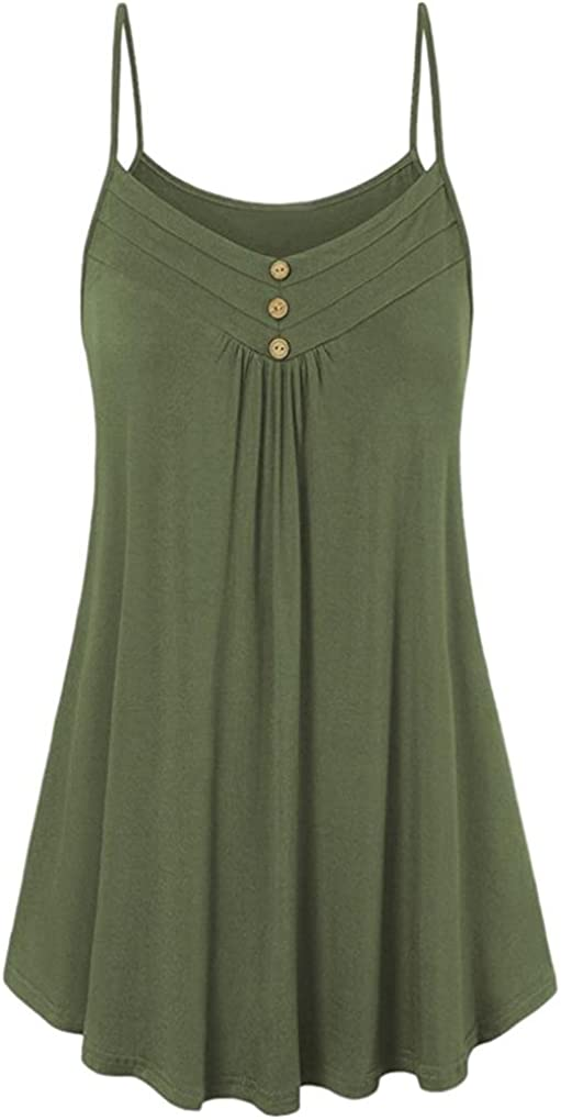 LISTHA Womens Ladies Summer Vest Blouse Loose Button V Neck Camisole Tank Tops