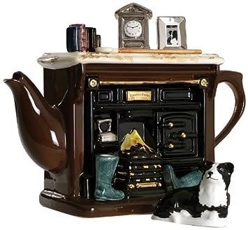 The Teapottery - Tetera (tamaño grande, cerámica), diseño de estufa antigua, color marrón: Amazon.es: Hogar