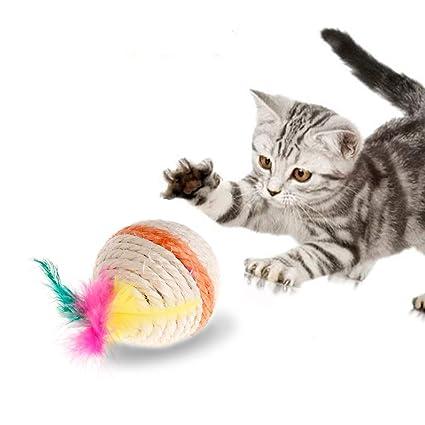 Juguete para gatos de YFairy – Pelota de sisal con ruedas para mascotas, perros,
