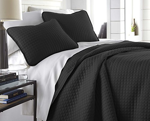 Southshore Fine Linens – Vilano Springs Oversized  3 Piece Quilt Set, King / California King, Black