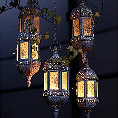 1PC Vintage Metal Hollow Candle Holder Wedding Lanterns Moroccan Hanging Candle Lanterns Candlestick White Gold With 44cm Chain