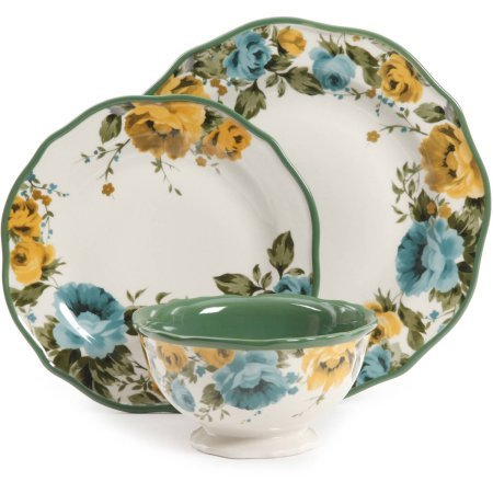 12-Piece Rose Shadow Dinnerware Set (Yellow Rose Dinner Plate)