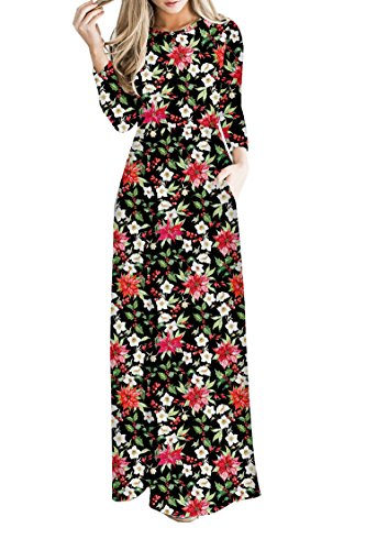 PinkWind Women Vintage Floral Ugly Christmas Printed Long Sleeve Waisted Casual Dress M -