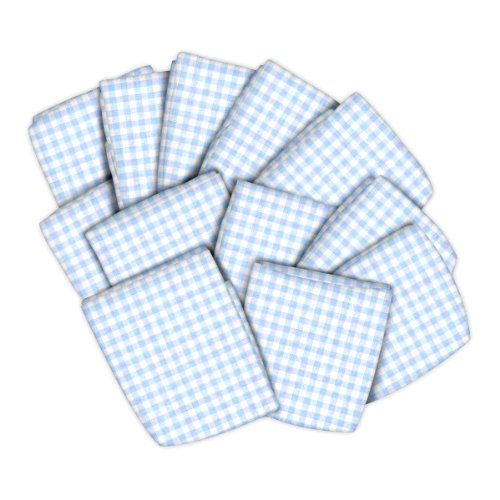 SheetWorld 12 Pack Fitted Portable / Mini Crib Sheets 24'' x 38'' - Blue Gingham Jersey Knit - Made In USA