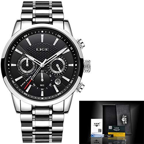 Men's Watch LIGE top Brand Luxury Waterproof Military Sports Watch Stainless Steel Multi-Function Quartz Watch (Silver Black Steel)