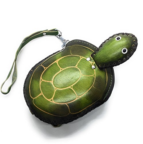(Zip Wallet Handcrafted Leather Animal Coin Purse Wristlet (Turtle))