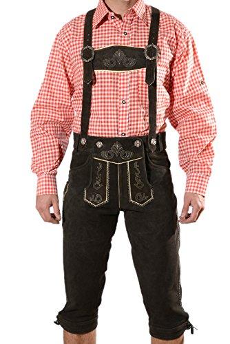 Bayerische Herren Trachten Lederhose, Trachtenlederhose mit Trägern, original in dunkelbraun, Oktoberfest, Größe 52