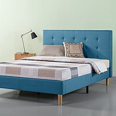Zinus Ibidun Upholstered Button Tufted Platform Bed / Mattress Foundation / Easy Assembly / Strong Wood Slat Support / Riverside Blue, Full - Classic Styling and strong mattress support with soft, foam-padded Blue upholstery Core composition: wooden slats and Steel frame/ mattress sold separately All parts for making the bed are located in the zippered compartment in the Back of the headboard for easy assembly - bedroom-furniture, bedroom, bed-frames - 51rO1hXnO1L. SS400  -
