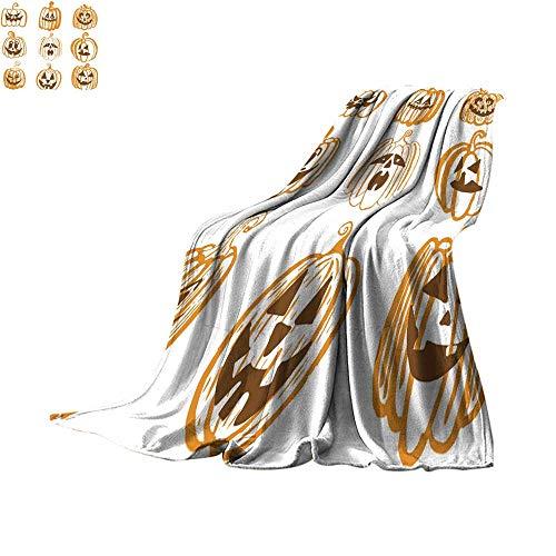 Angoueleven Fleece Blanket Throw Set of Nine Hand Drawn Halloween Pumpkins Throw Blanket 90
